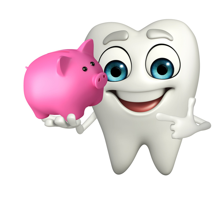 Cartoon character of teeth with piggy bank